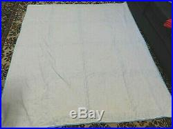 Antique Quilt Feed/flour Sack Cotton Wheel/stars Blue/multi Very Nice! 74x82
