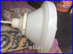Antique Ribbed Glass 16 Ceiling Light Fixture From Old Church Very Nice