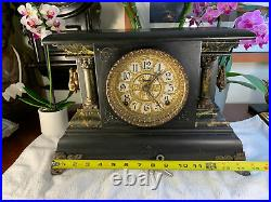 Antique Sessions Clock Co. FS Black Mantel Clock Complete With Key Very NICE