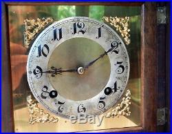 Antique Shelf Mantle Cuckoo Clockjunghansbeveled Glass Doorvery Nice