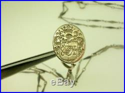 Antique Sterling Silver Pocket Watch Chain With Very Nice Seal 30 Long -b/o