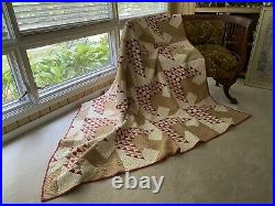 Antique Tree Of Life Quilt. Red and Brown. Very Nice