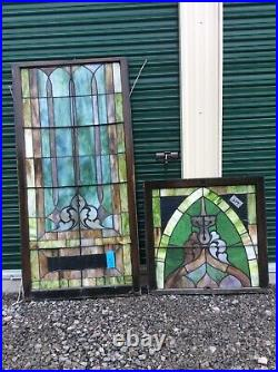 Antique Very Large 2 Piece Church Leaded Stain Glass Window 34 X 103- Nice
