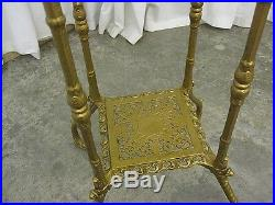 Antique Victorian Style Metal & Marble Plant Stand Ornate Filigree Very Nice Con