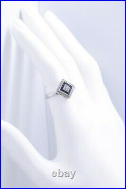 Art Deco Sapphire And Diamonds 14 Kt White Gold Lady Ring Very Nice Details