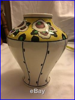 Boch Freres Belgium Art Nouveau Vase with abstract flowers Very Nice
