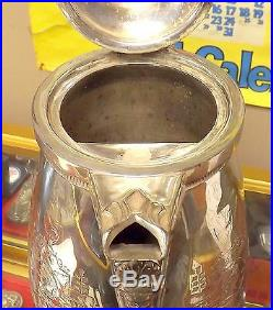 C. 1870 Ornate Egyptian Revival Silver Plated Ice Water Pitcher Very Nice Piece