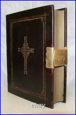C1850 antique family Catholic Bible Douay Rheims BRASS CLASP very nice