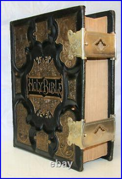 C1875 Large antique family Holy Bible CLASPS very nice