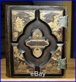 C1890 antique family Holy Bible CLASPS very nice