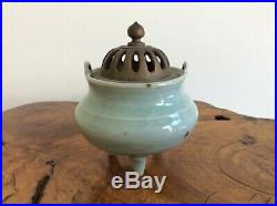 Chinese Antique Celadon Incense Burner and Wooden Stand / Very Nice