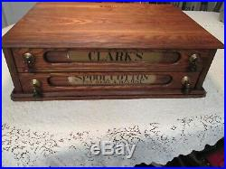 Clark's O. N. T. Two Drawer Antique Wooden Spool Cabinet Refinished Very Nice