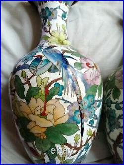 Cloisonne antique japanese vases gold wire. Birds trees flowers very nice 12 in