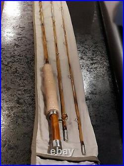Custom split bamboo fly rod. Very Nice. 7ft 6in. 4wt. 3pc. Flame finish