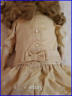 Darling Kestner 22 Inch Antique Doll, leather & cork body, crown mark, Very Nice