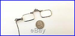 Edwardian Sterling Silver. 925 Lorgnette With 32 Inch Y Chain Very Nice