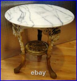 English Garden Tea Table with Marble Top Circa 1850s Very Nice