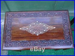 Furniture Nesting Tables 4 Ornately Carved Tables Brass Inlaid Design Very Nice