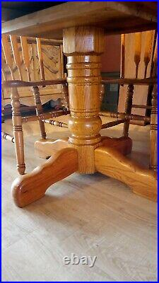 Furniture Round Dining Table and 6 Chairs Set oak, solid wood, very nice set