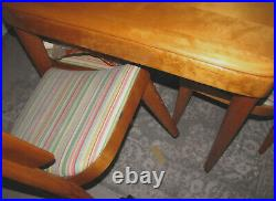 HAYWOOD WAKEFIELD ONE DINING TABLE WITH LEAF AND 6 CHAIRS c1940 VERY NICE SET