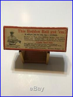 HEDDON Musky Red Head White Flap tail WithCorrect Brush Box Very Nice Lot H-14