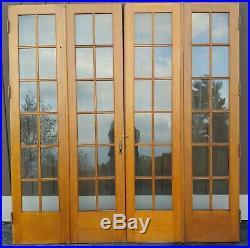 HUGE PAIR OF VERY NICE VINTAGE 1920's SOLID OAK INTERIOR BI-FOLD LIBRARY DOORS