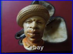 J2637 Antique Meerschaum Pipe Black Men Scarce Very Nice See Descrip