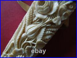 J2806 Art Nouveau French Dieppe Fan Very Nice Carved See Descrip