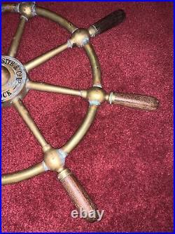 John Hastie & Co Greenock Brass Ship Wheel Antique Very Nice