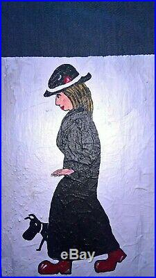 L s lowry lady in red shoes very old, very nice collectable