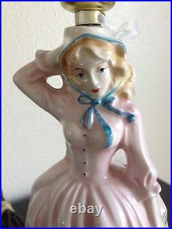 LAMP Pastel Porcelian Lady Girl Figurine Vtg 40's Shabby Chic Working Very Nice
