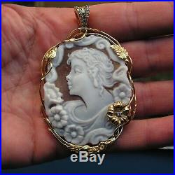 LARGE, ANTIQUE ITALY SHELL CAMEO, FLORA Lovely soft colors, very nice engraved