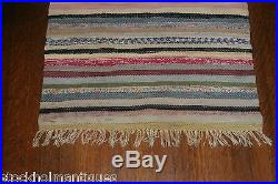 LONG and Very Nice Antique and Handmade Swedish Rag Rug (24x122 inches)