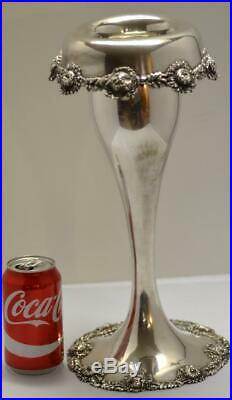 Large 15 Fancy Antique Sterling Silver Vase Theodore Starr #338 Very Nice