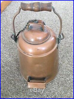 Large Antique Primitive Copper Coffee Pot Kettle -Very nice condition- Reduced