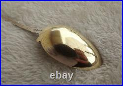 Lotus by Whiting 6 1/4 Sterling teaspoon gold vermeil bowl Very Nice