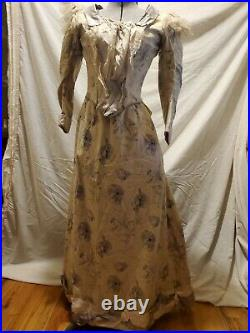 Magnificent Antique Original 1880s Heavy Wool and Silk Bustle Gown Very Nice
