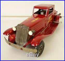 Marx 1930's Antique Pressed Steel Windup Siren Fire Chief Car-very Nice