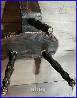 Mid Century Birthing Chair Folk Art Stool Primitive Wood 3 Leg Clover Padded