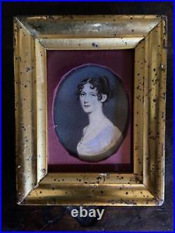 Old Antique 19c. Miniature Portrait Portrait of Lady Very Nice