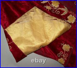 Old Antique Vtg Ca 1880s Odd Fellows Long Red Velvet Tunic Robe Tunic Very Nice