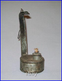 Old Antique Vtg Early 19th C 1800s Tin Betty Whale Oil or Grease Lamp Very Nice