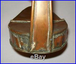 Old Antique Vtg Early 19th C 1830s Copper Betty or Grease Lamp Very Nice Form
