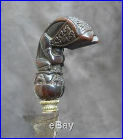 Old and very nice quality keris with a rare hilt Sumatra Indonesia 18th CENTURY