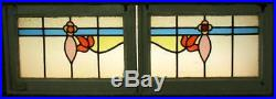 PAIR OF OLD ENGLISH STAINED GLASS WINDOWS Very Nice Florals 23.75 x 16