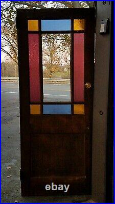 POST-CIVIL-WAR QUEEN ANNE STAINED GLASS DOOR, 1910s CATSKILL REGION NY VERY NICE