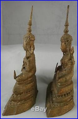Pair Antique Thai Bronze Bodhisattva. Very nice patina. 8 ½ tall, 1lb 8oz each