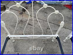 Pair Of Virginia Brass Twin Antique Ornate Cast Iron Beds, Very Nice