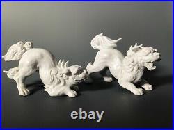 Pair Porcelain Foo Dogs Komainu Very Nice Shishi Lions! Fitz and Floyd Blanc