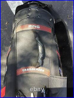 Ping staff Golf Bag Trailblazer W. 8 Way Divider Includes Rain Cover Very Nice